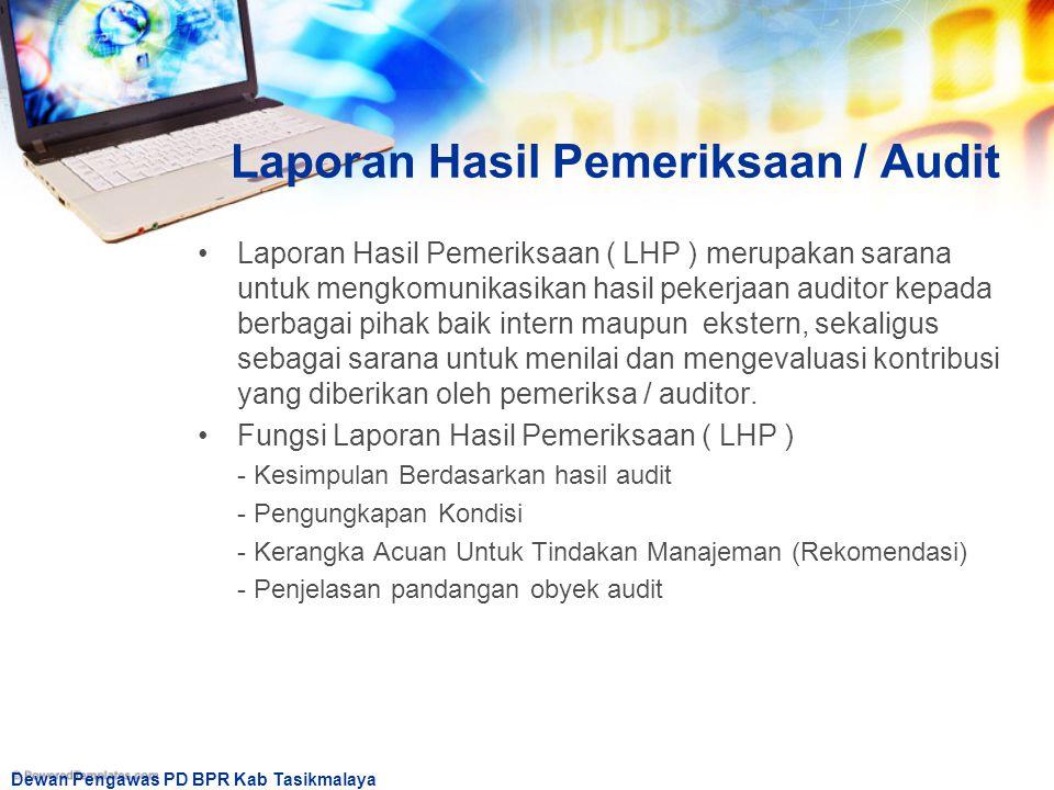 Laporan Hasil Pemeriksaan / Audit
