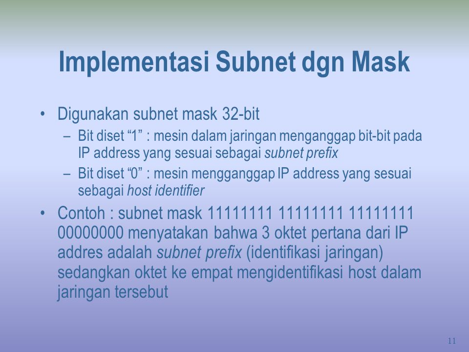 Implementasi Subnet dgn Mask
