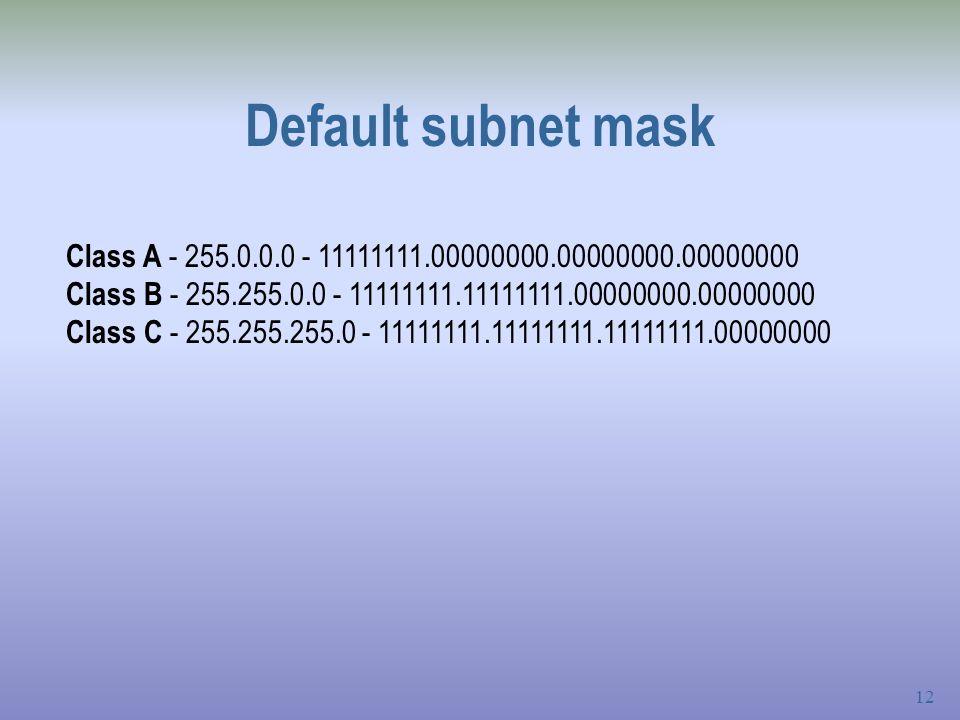 Default subnet mask Class A - 255.0.0.0 - 11111111.00000000.00000000.00000000. Class B - 255.255.0.0 - 11111111.11111111.00000000.00000000.