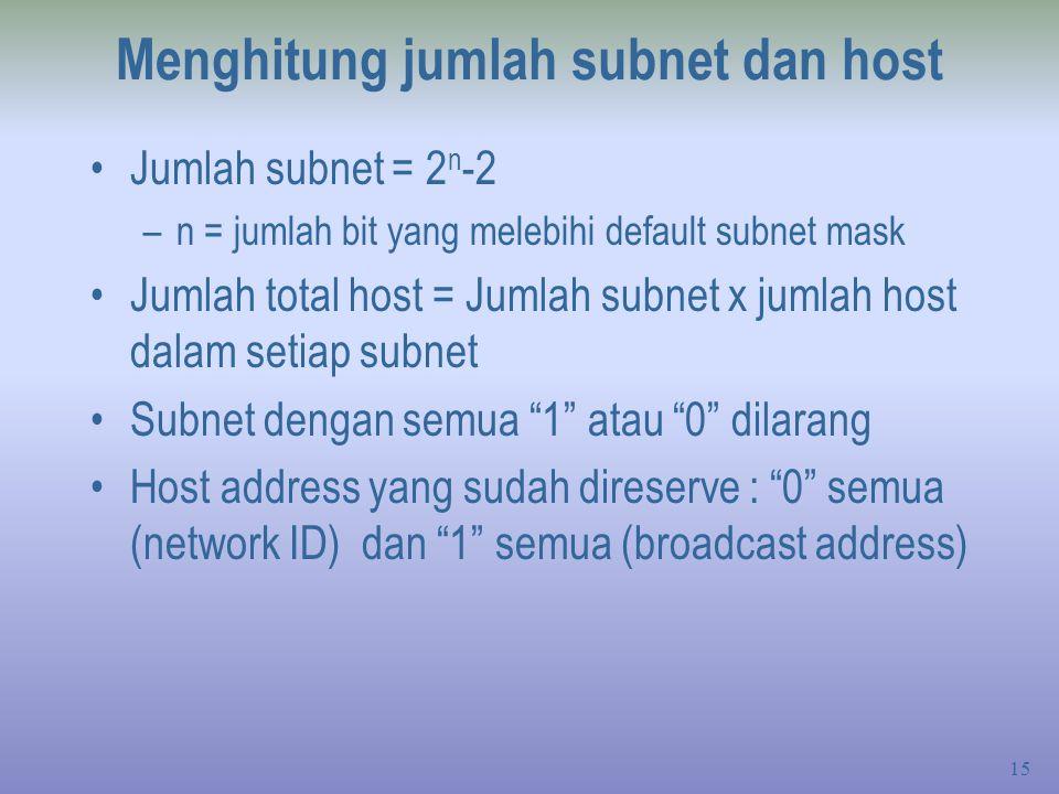 Menghitung jumlah subnet dan host