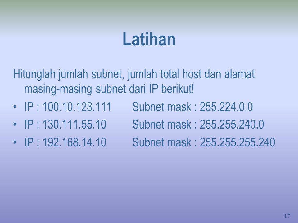 Latihan Hitunglah jumlah subnet, jumlah total host dan alamat masing-masing subnet dari IP berikut!
