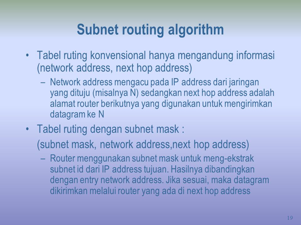 Subnet routing algorithm