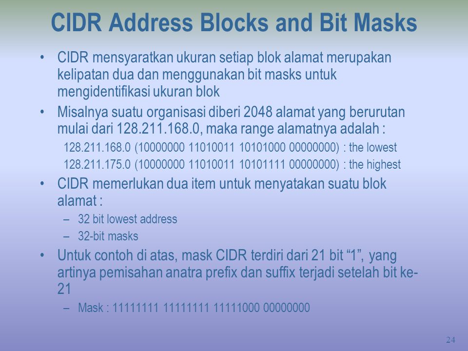 CIDR Address Blocks and Bit Masks