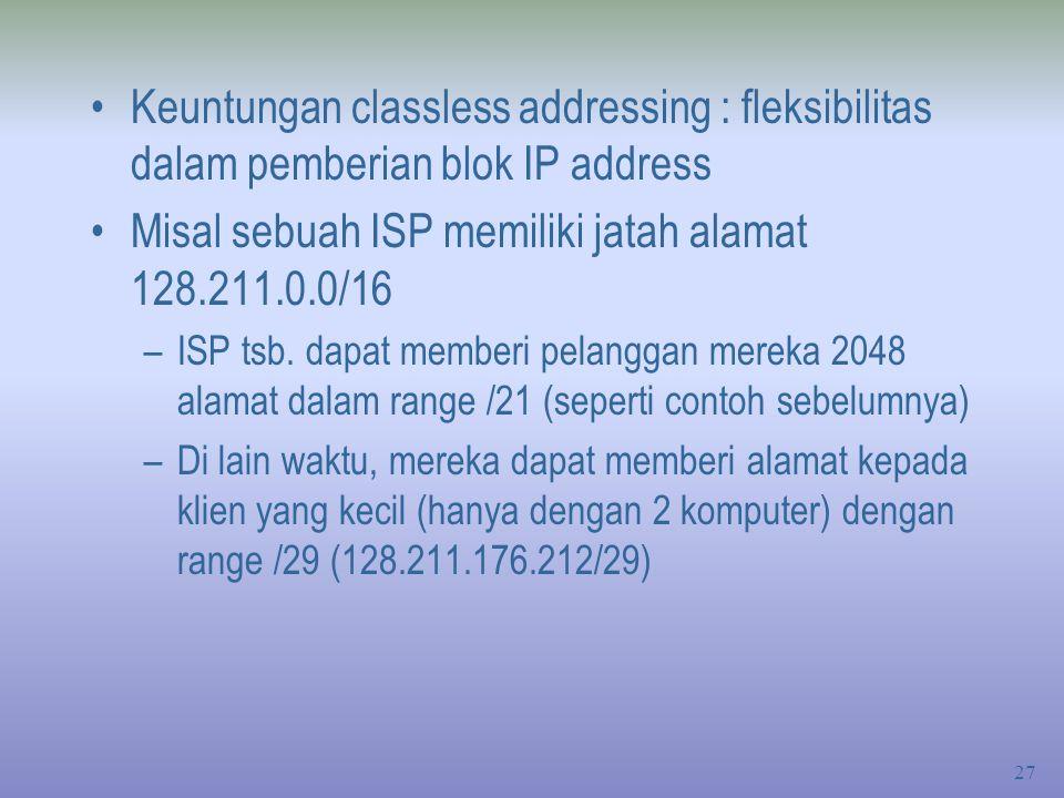 Misal sebuah ISP memiliki jatah alamat 128.211.0.0/16