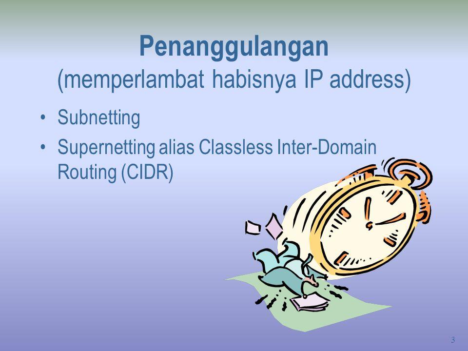Penanggulangan (memperlambat habisnya IP address)