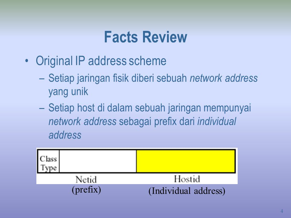 Facts Review Original IP address scheme