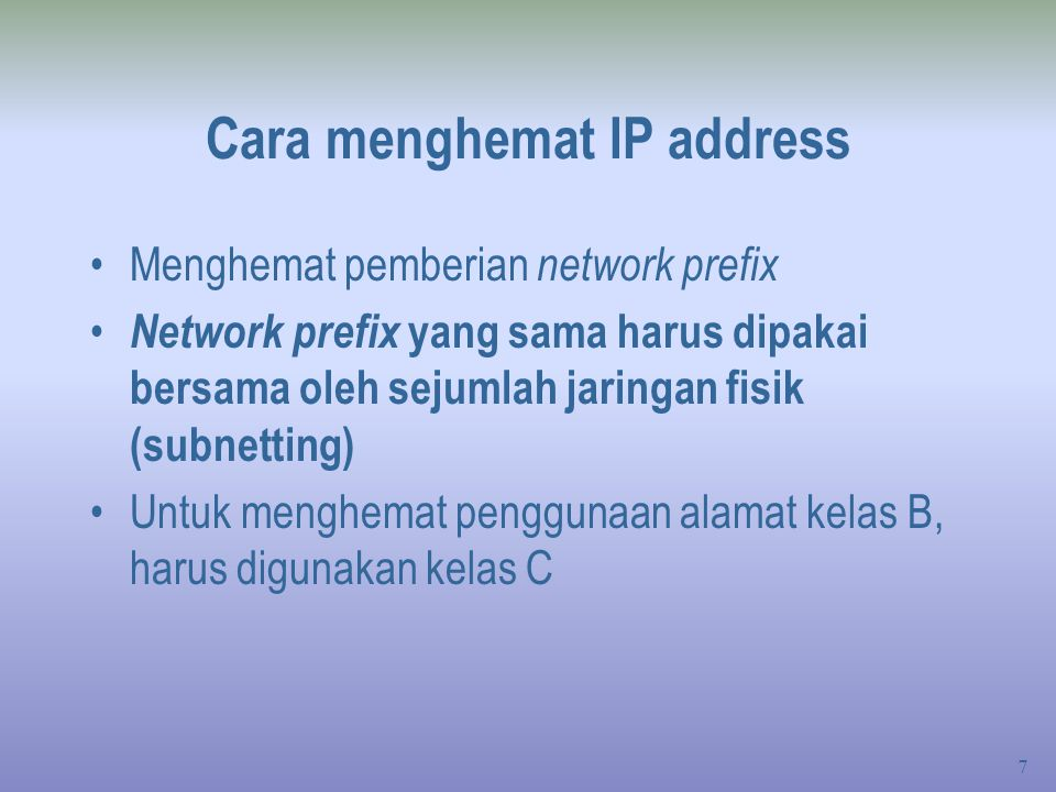 Cara menghemat IP address