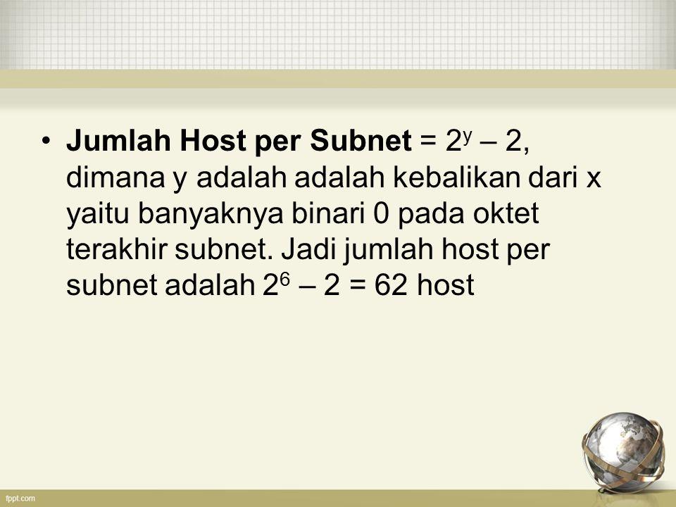 Jumlah Host per Subnet = 2y – 2, dimana y adalah adalah kebalikan dari x yaitu banyaknya binari 0 pada oktet terakhir subnet.
