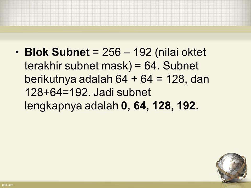 Blok Subnet = 256 – 192 (nilai oktet terakhir subnet mask) = 64