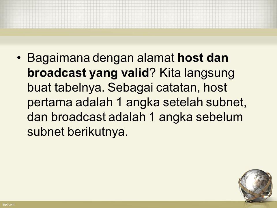 Bagaimana dengan alamat host dan broadcast yang valid