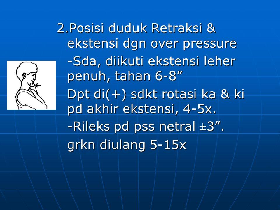 2.Posisi duduk Retraksi & ekstensi dgn over pressure