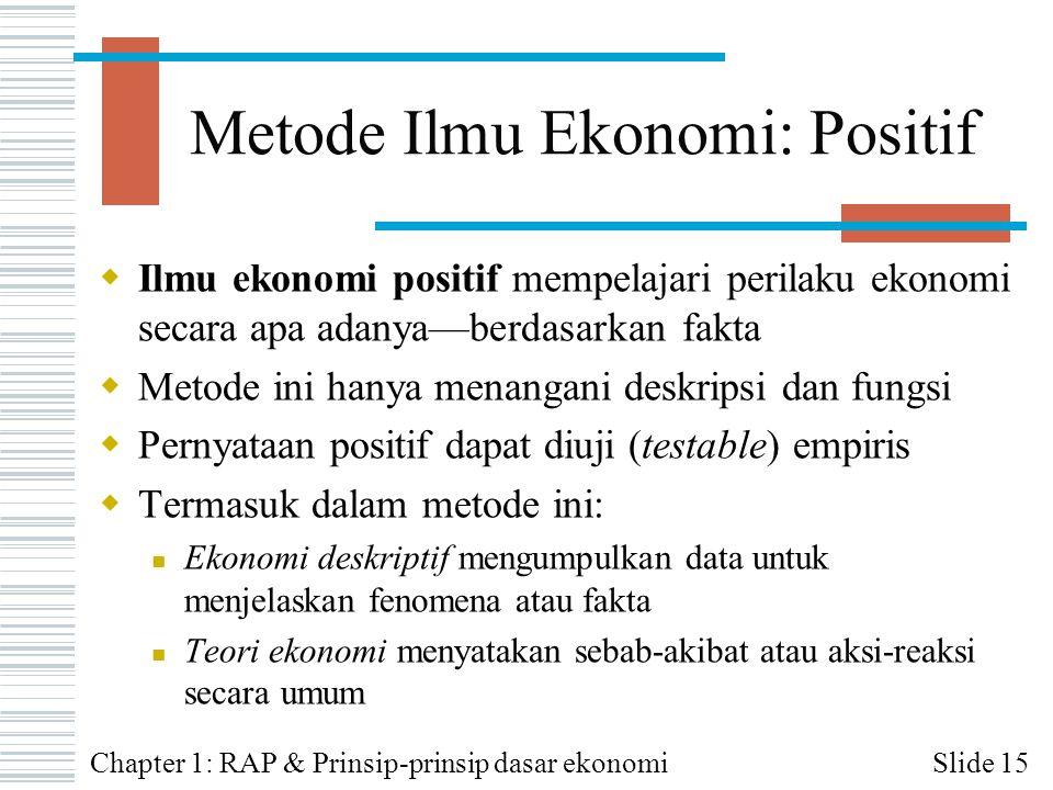 Metode Ilmu Ekonomi: Positif