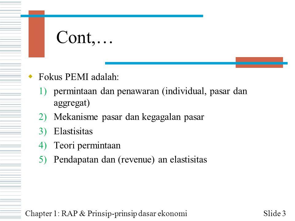 Cont,… Fokus PEMI adalah: