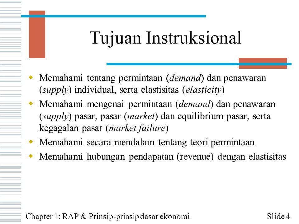 Tujuan Instruksional Memahami tentang permintaan (demand) dan penawaran (supply) individual, serta elastisitas (elasticity)