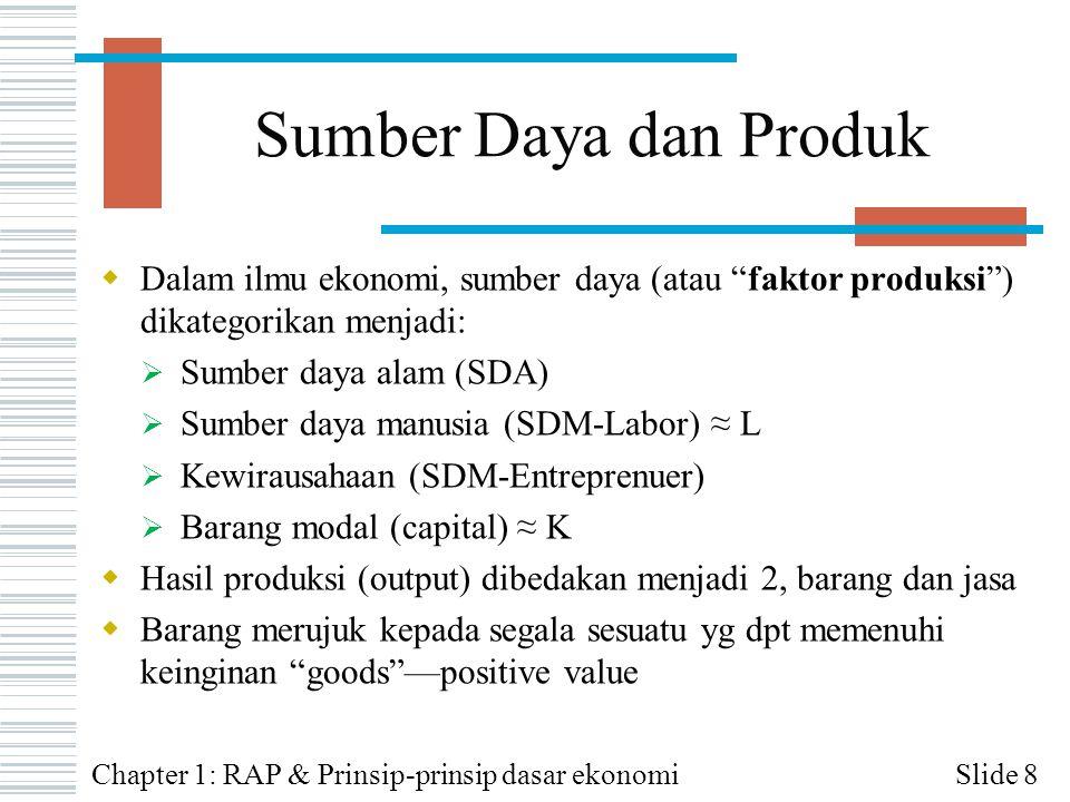 Sumber Daya dan Produk Dalam ilmu ekonomi, sumber daya (atau faktor produksi ) dikategorikan menjadi: