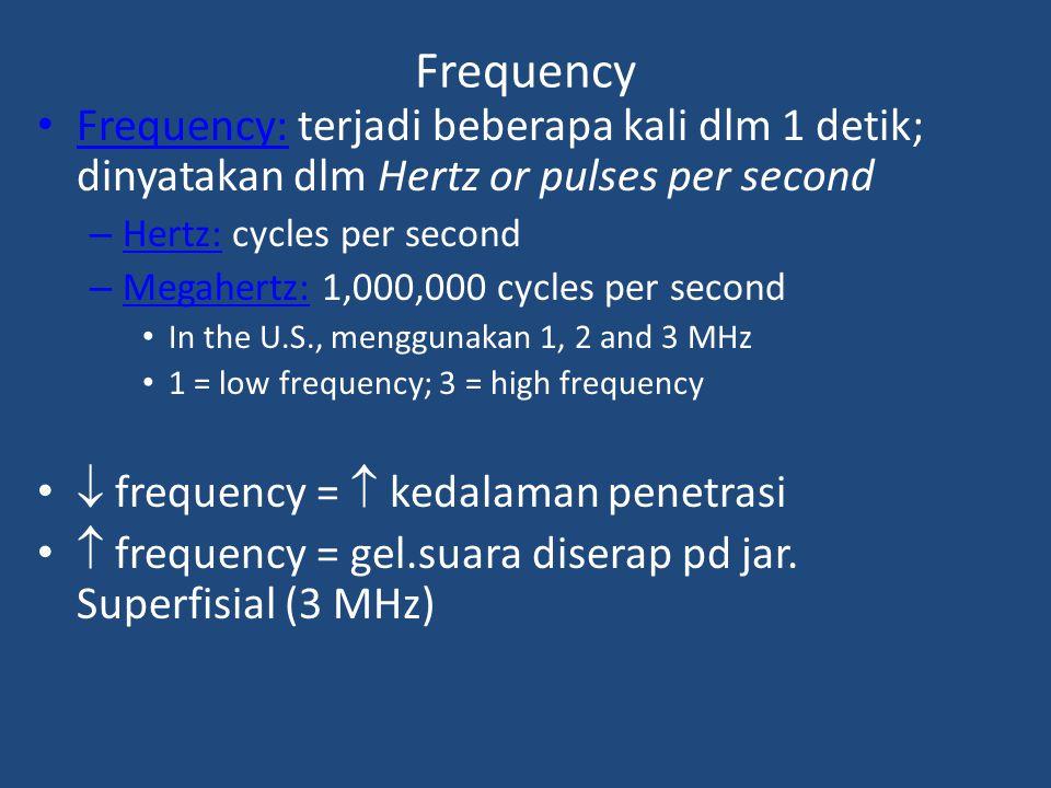 Frequency Frequency: terjadi beberapa kali dlm 1 detik; dinyatakan dlm Hertz or pulses per second. Hertz: cycles per second.