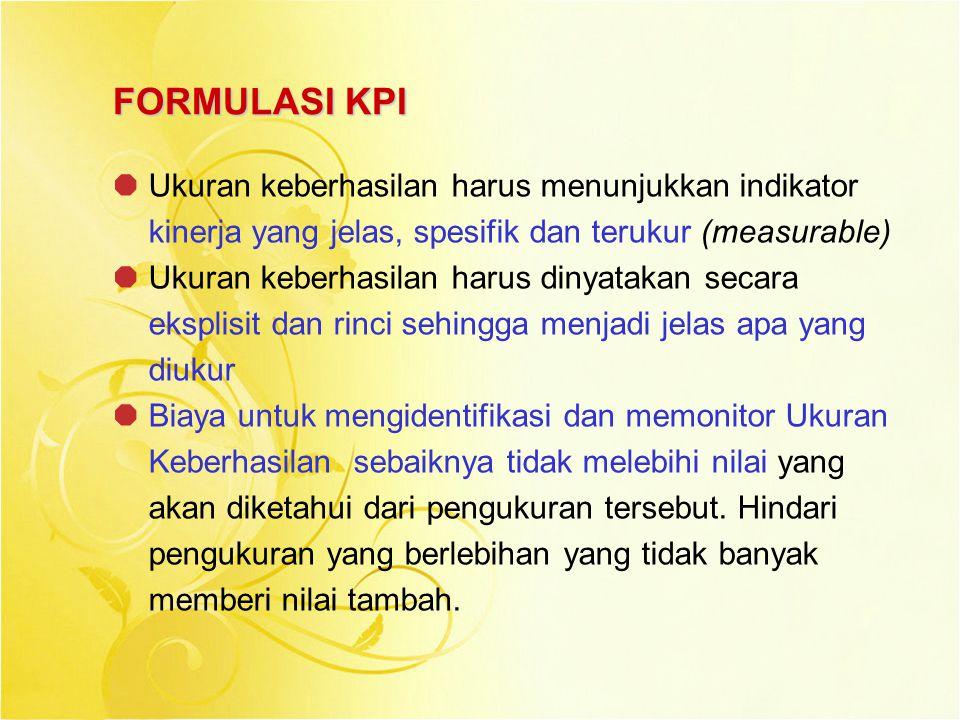 FORMULASI KPI Ukuran keberhasilan harus menunjukkan indikator kinerja yang jelas, spesifik dan terukur (measurable)