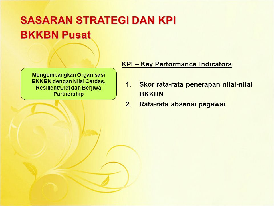 SASARAN STRATEGI DAN KPI BKKBN Pusat