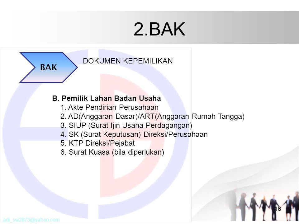 2.BAK BAK DOKUMEN KEPEMILIKAN B. Pemilik Lahan Badan Usaha