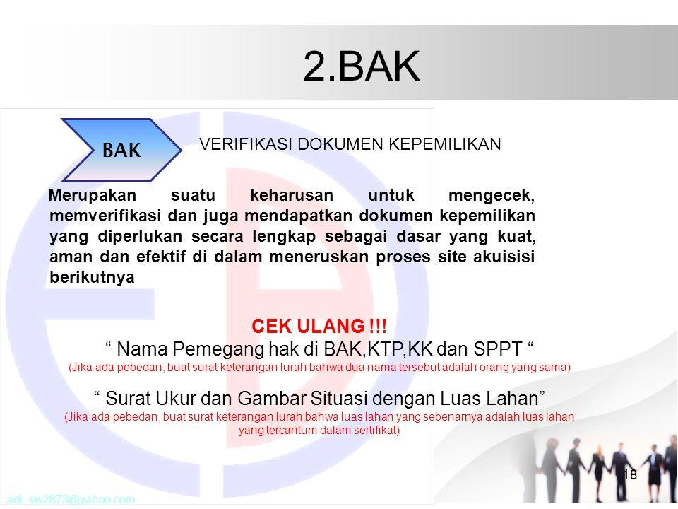 2.BAK BAK CEK ULANG !!! Nama Pemegang hak di BAK,KTP,KK dan SPPT