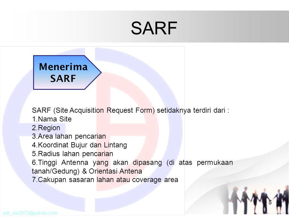 SARF Menerima SARF. SARF (Site Acquisition Request Form) setidaknya terdiri dari : Nama Site. Region.