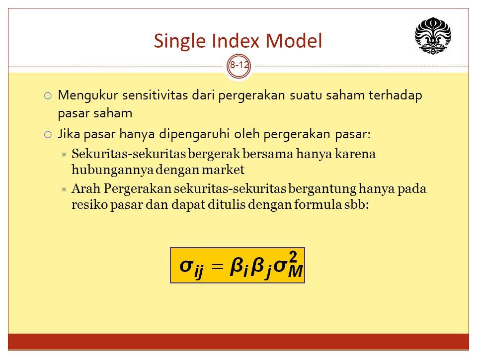 Single Index Model Mengukur sensitivitas dari pergerakan suatu saham terhadap pasar saham. Jika pasar hanya dipengaruhi oleh pergerakan pasar:
