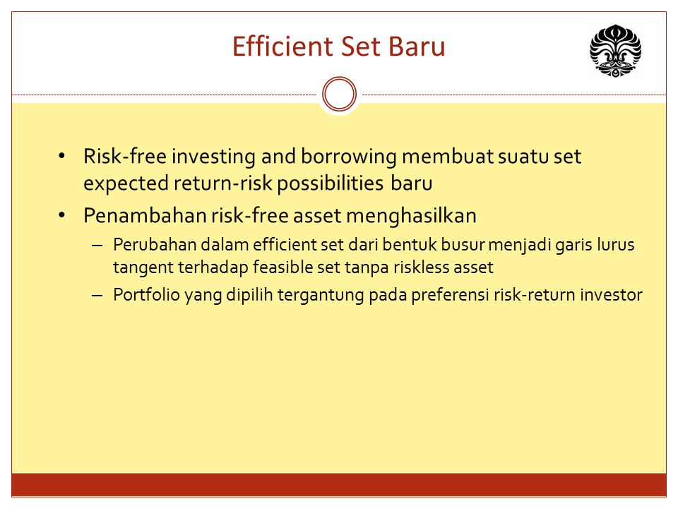 Efficient Set Baru Risk-free investing and borrowing membuat suatu set expected return-risk possibilities baru.