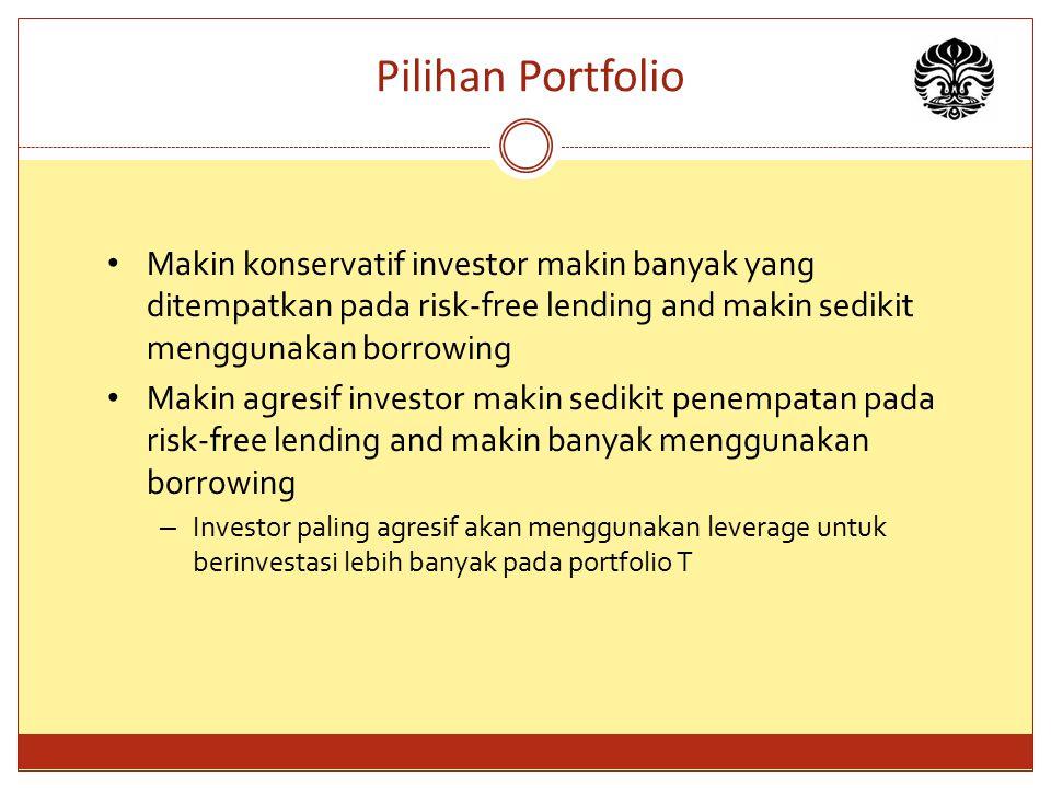 Pilihan Portfolio Makin konservatif investor makin banyak yang ditempatkan pada risk-free lending and makin sedikit menggunakan borrowing.