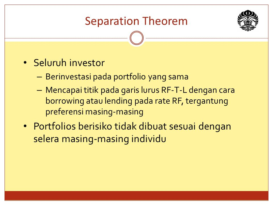 Separation Theorem Seluruh investor