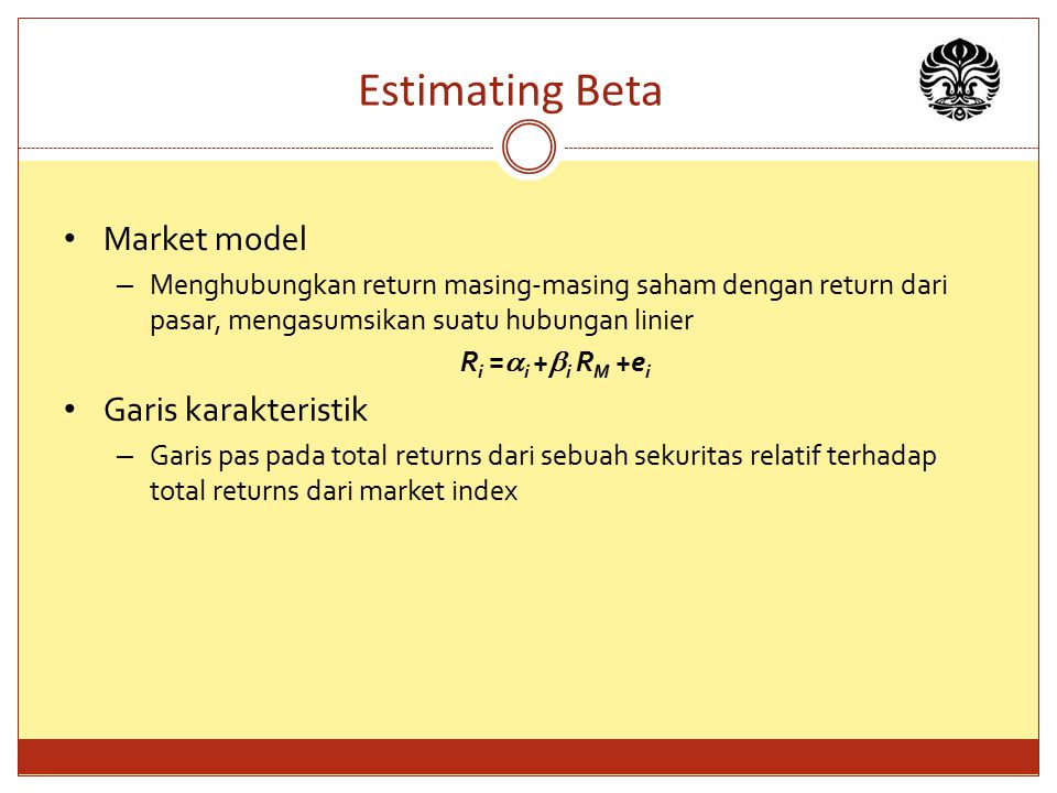 Estimating Beta Market model Garis karakteristik