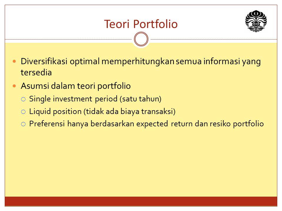 Teori Portfolio Diversifikasi optimal memperhitungkan semua informasi yang tersedia. Asumsi dalam teori portfolio.