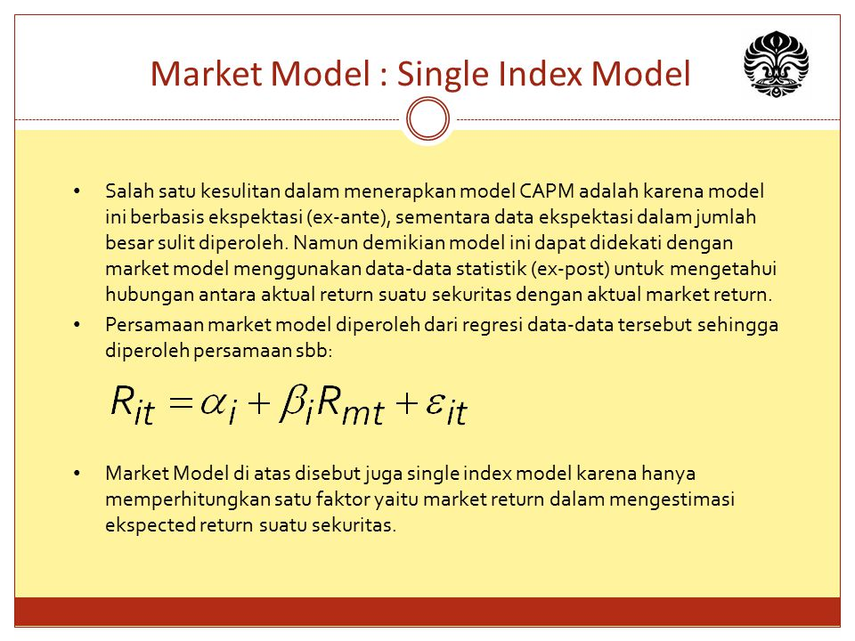 Market Model : Single Index Model