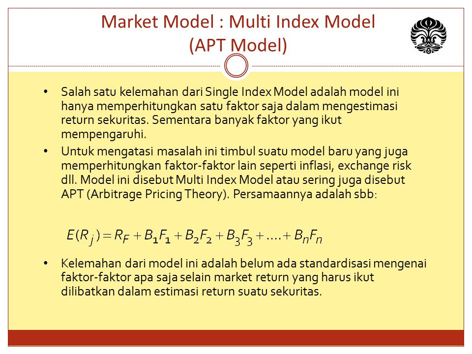 Market Model : Multi Index Model (APT Model)