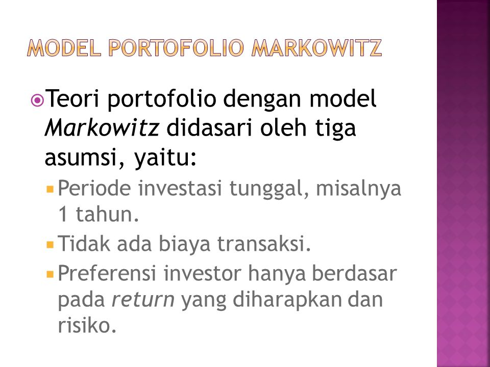 MODEL PORTOFOLIO MARKOWITZ