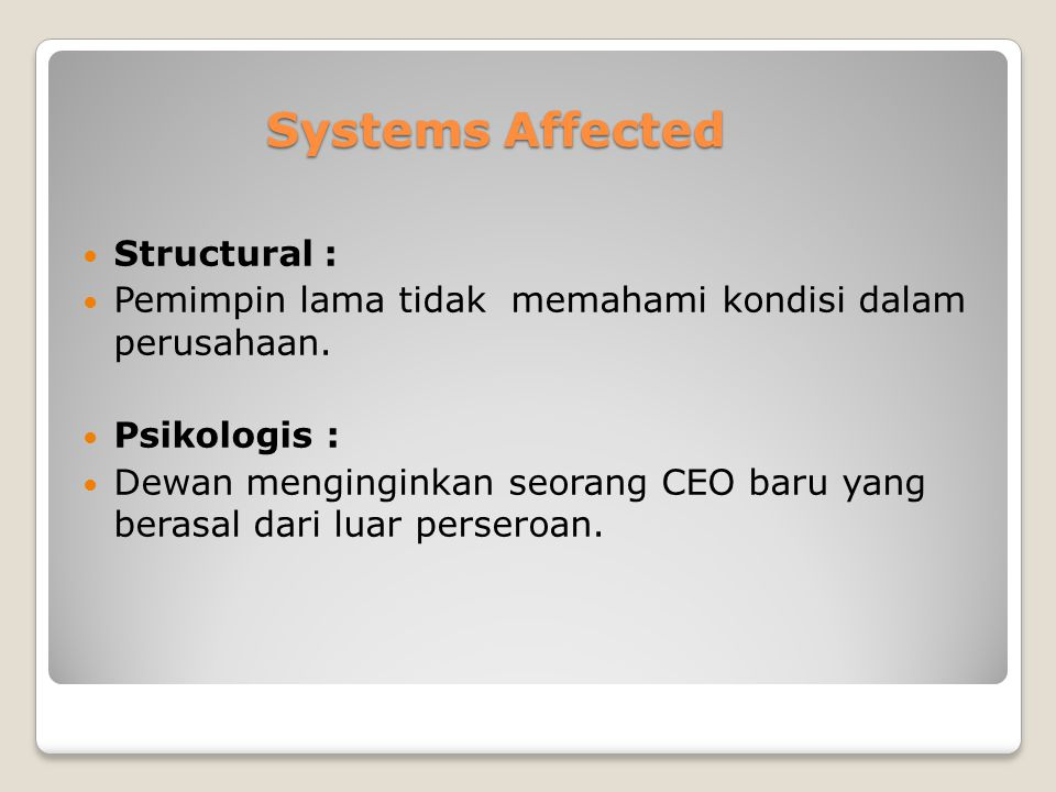 Systems Affected Structural :