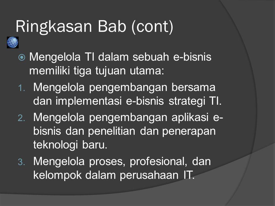 Chapter 1 Ringkasan Bab (cont) Mengelola TI dalam sebuah e-bisnis memiliki tiga tujuan utama: