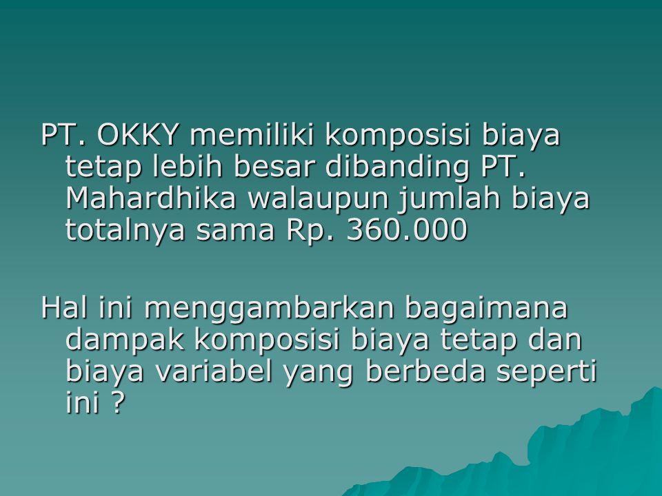 PT. OKKY memiliki komposisi biaya tetap lebih besar dibanding PT