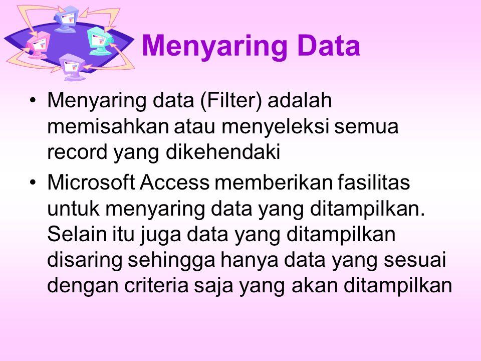 Menyaring Data Menyaring data (Filter) adalah memisahkan atau menyeleksi semua record yang dikehendaki.