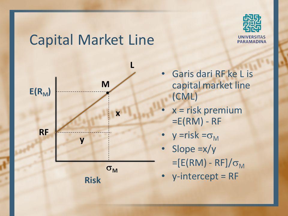 Capital Market Line Garis dari RF ke L is capital market line (CML)