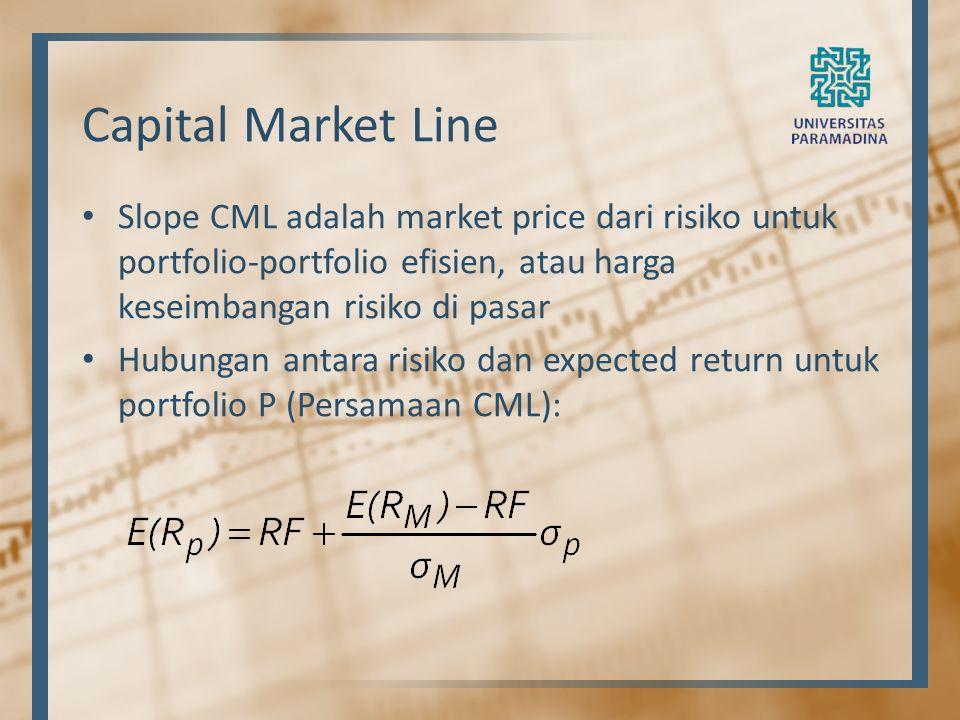 Capital Market Line Slope CML adalah market price dari risiko untuk portfolio-portfolio efisien, atau harga keseimbangan risiko di pasar.