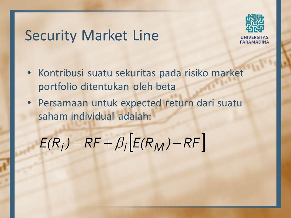 Security Market Line Kontribusi suatu sekuritas pada risiko market portfolio ditentukan oleh beta.