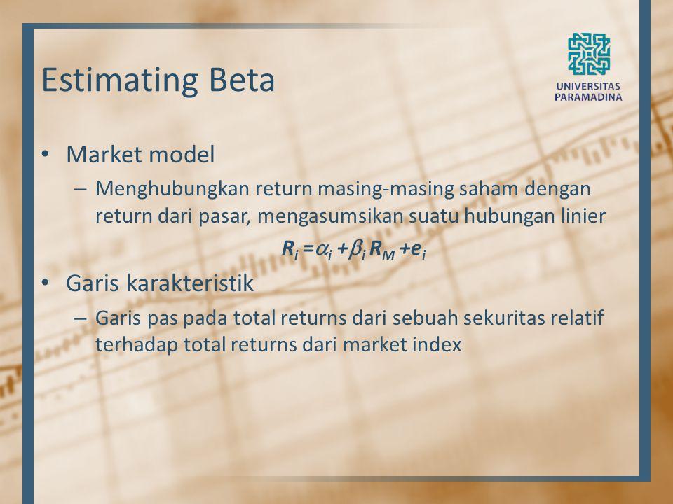 Estimating Beta Market model Garis karakteristik