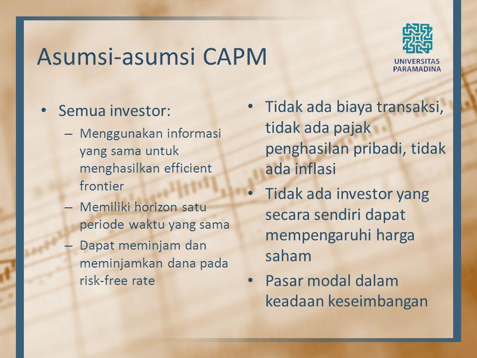Asumsi-asumsi CAPM Tidak ada biaya transaksi, tidak ada pajak penghasilan pribadi, tidak ada inflasi.