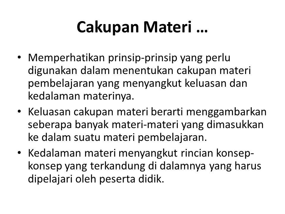 Cakupan Materi …