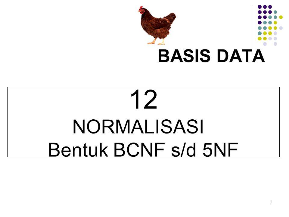 BASIS DATA 12 NORMALISASI Bentuk BCNF s/d 5NF 1