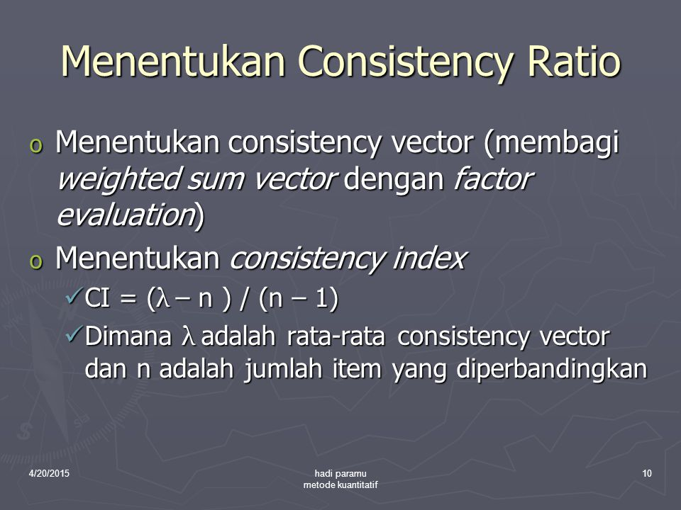 Menentukan Consistency Ratio