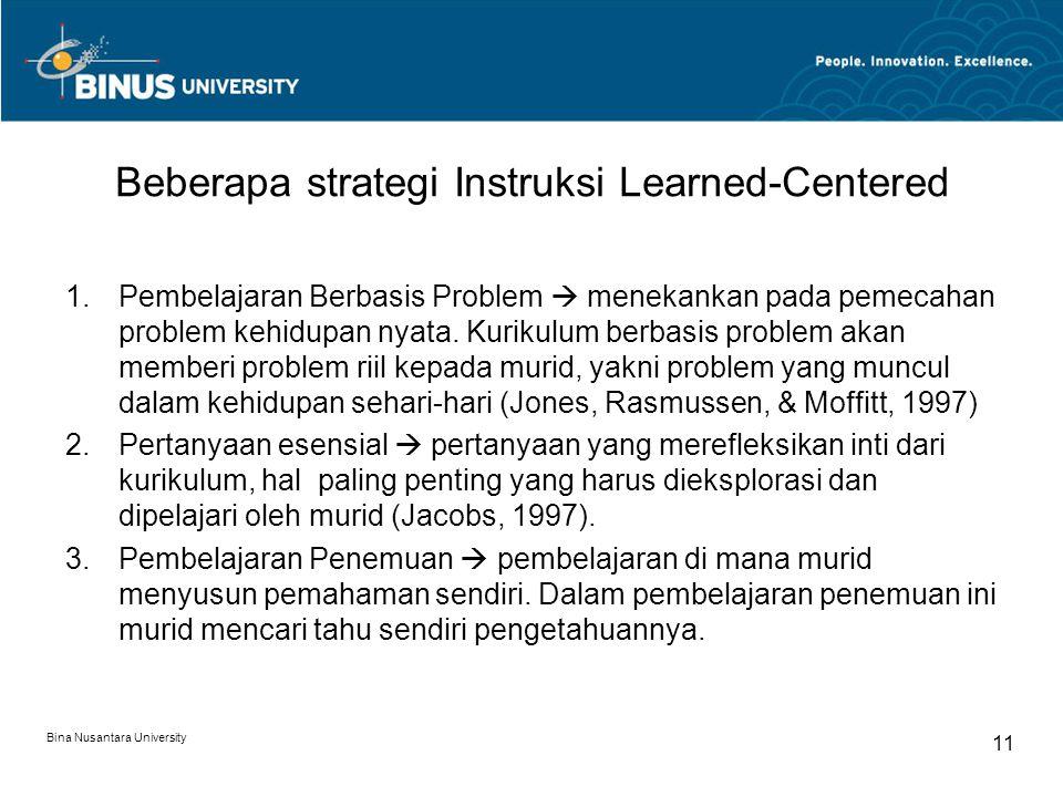 Beberapa strategi Instruksi Learned-Centered