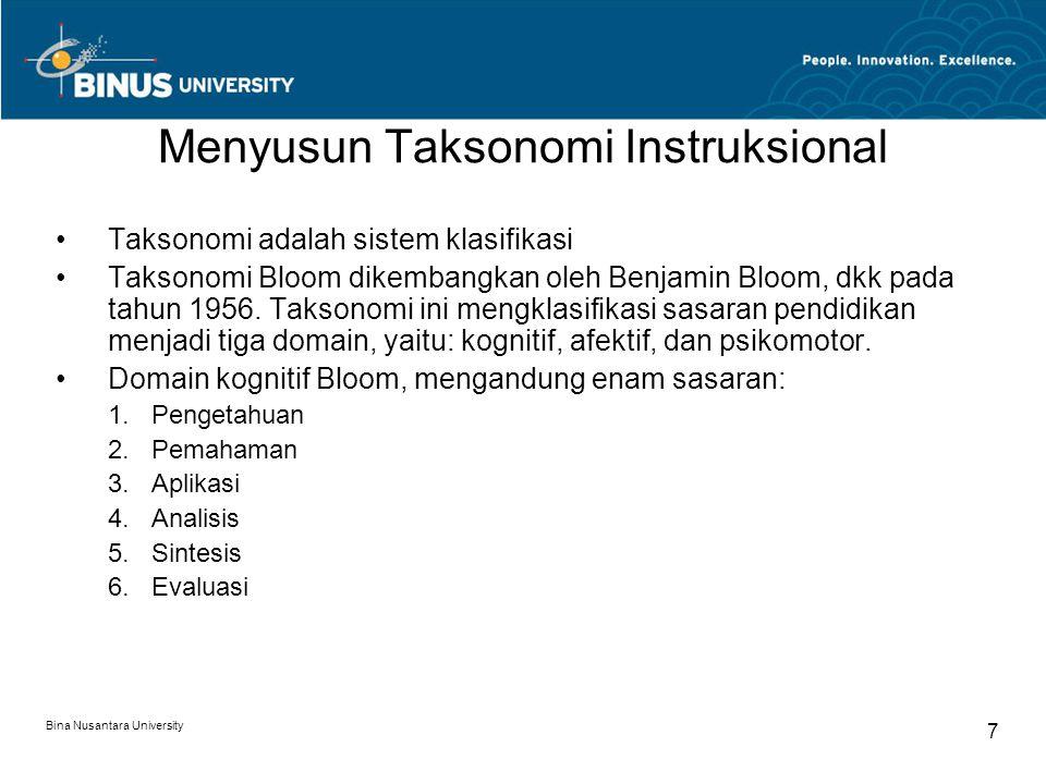 Menyusun Taksonomi Instruksional