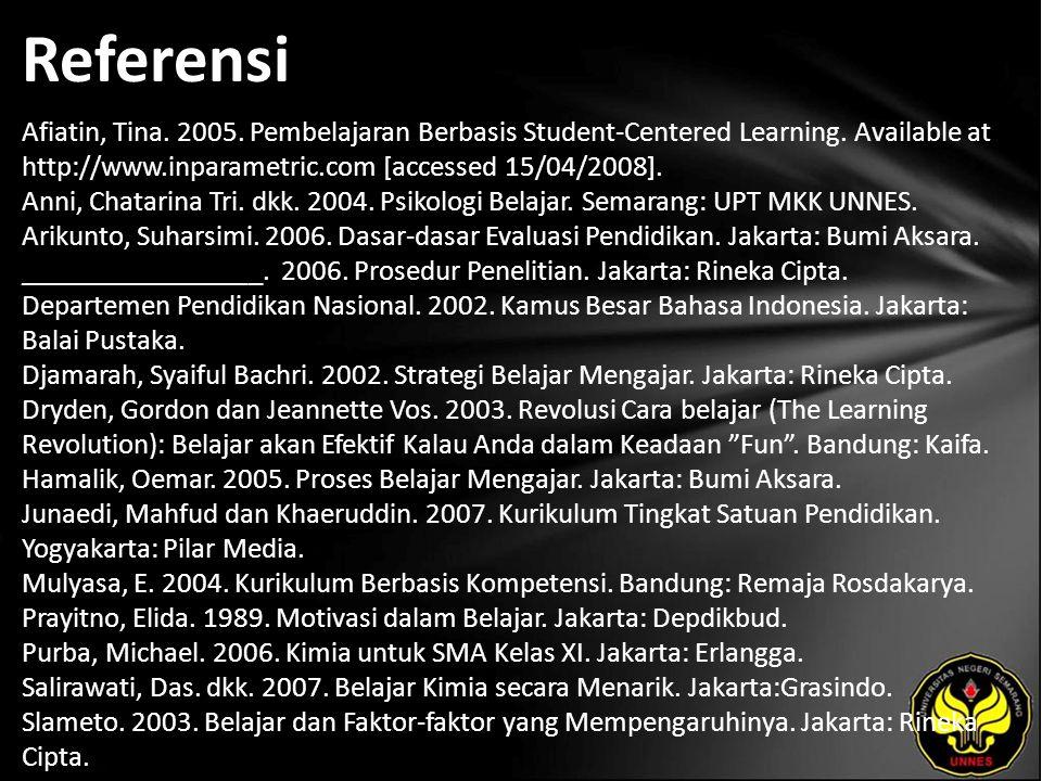 Referensi Sugiyono. 2003. Statistika untuk Penelitian. Bandung: Alfabeta.