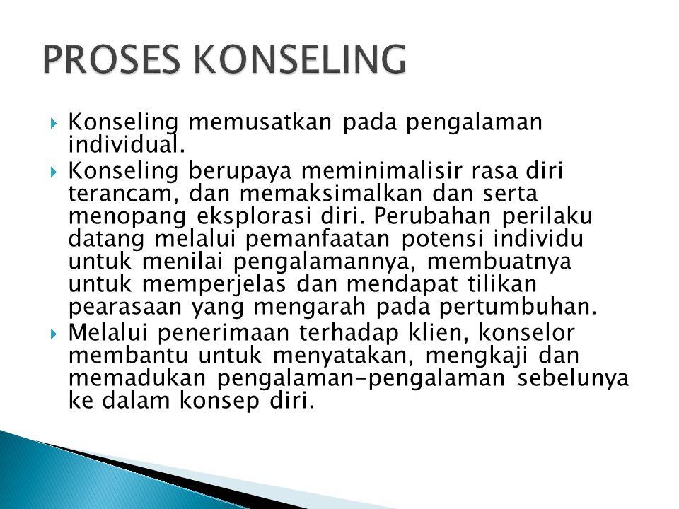 PROSES KONSELING Konseling memusatkan pada pengalaman individual.